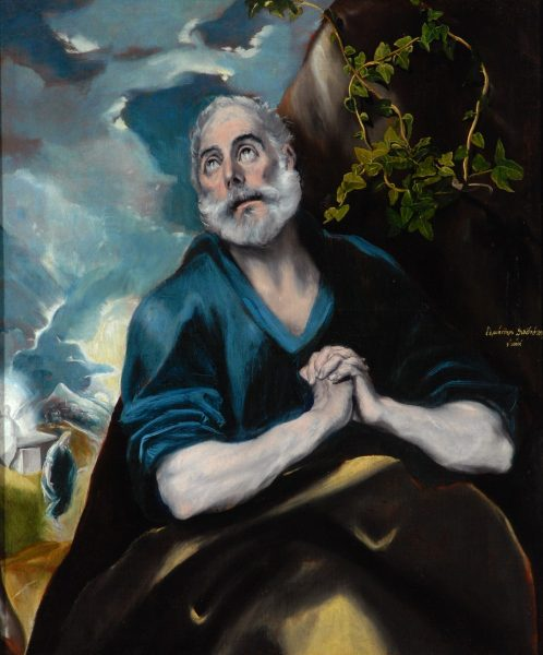 El Greco, 'The Tears of St Peter' The agony portrayed in El Greco's painting is depicted in music in a highly dramatic cantata by Charpentier and a beautiful madrigal by di Lasso.